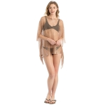 LOF801 Metallic Net Cover-Up w/Fringes, Rose Gold