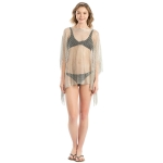 LOF801 Metallic Net Cover-Up w/Fringes, Silver