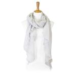LOF804 Shimmery Ruffled Oblong Scarf, White