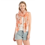 LOF817 Flower Print Oblong Scarf, Coral