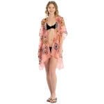 LOF825 Embroidery Flower Cover-up, Coral