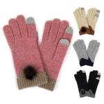 LOG057 Knit Gloves W/Pom Pom
