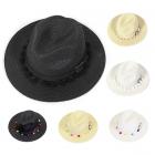 LOH047 Panama Hat W/ Pompom & Belt
