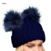 LOH083 Winter Beanie W/2Fur Pom Pom