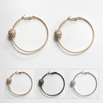 MRE5256 STONE BALL HOOP EARRING