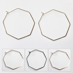 MRE356 OCTAGON BRASS HOOP EARRINGS