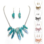 MRN7053 FAUX QUARTZ BIB NECKLACE SET
