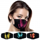 S-101 Solid w/Neon Color Butterfly Reusable Mask (1DZ)