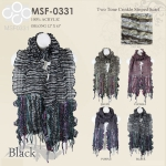 MSF0331 Two Tone Crinkle Striped Scarf
