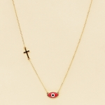 NA-111 Third Eye & Cross Charms Necklace, RD