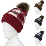 OH0802 Plaid Knit Beanie with Faux Fur Pom Pom