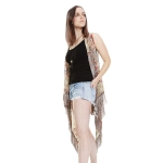 PC1056 FEATHER PATTERN SHEER VEST w/ FRINGE