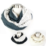 PCH5002 Faux Fur Lined Cable Knit Infinity