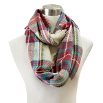 PCH5871 Classic Plaid Check Pattern Infinity Scarf