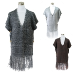 PKH6117 Solid Color Knitted Fringe Cape