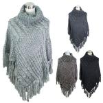 POY5143 Luxury Turtleneck Fringe Knit Poncho