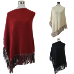 POY5363 Solid Color Faux Suede Fringe Poncho