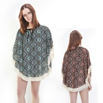 PS1093 Fringed Poncho with strings
