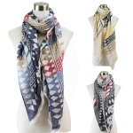 PSY5392 Three-Tone Striped Geometric Pattern Eyelash Scarf
