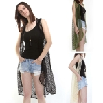 PY1040 MESH LONG VEST COVER UP