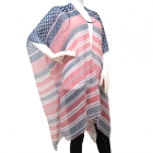 PY1122 Americana Stripe Summer Open Poncho