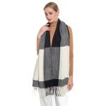 S5007 Color Block Oblong Scarf, Black/White
