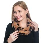 S5011 Leopard Pattern Faux Fur Infinity Scarf