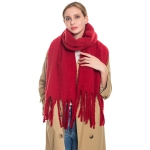 S5024 Solid Oblong Scarf,  Burgundy