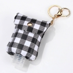 SA004 Buffalo Plaid Pattern Travel Size Sanitizer Holder W/Key Chain, Black