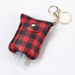 SA004 Buffalo Plaid Pattern Travel Size Sanitizer Holder W/Key Chain, Red