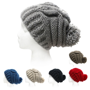 SH4001 Beanie Cable Winter Hat With Ball