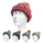 SH4004 Multi Color Knit Beanie With Ball