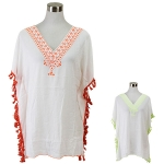 SOY7015 Embroidered Tassel Poncho