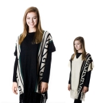 SP4516 V Neck Abstract Pattern Poncho