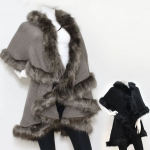 SP4523 Hood Fur Cape Poncho