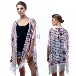 SP4606 Strip Flower Cape with Fringe