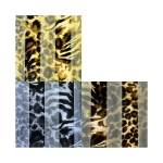 SPL004 Satin Striped Animal Print Scarf (DZ)