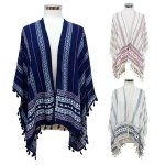 SRY7056 Aztec Patterned Stripe Poncho with Tassel
