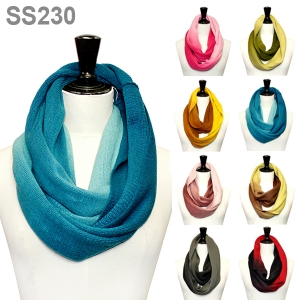 SS230 Gradient Two Tone Knit Infinity Circle Ring Scarf