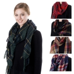 SS2402 TARTAN CHECK TWILL SCARF WITH FRINGE