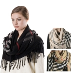 SS2476 (SS2796) Plaid Check Oversize Shawl with Fringe