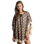 SS2629 summer neck tie poncho with fringe