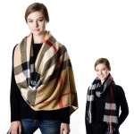 SS2707 Check pattern scarf with fringe