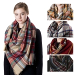 SS2763 Plaid Check Square Scarf