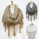 SS2792 Knit Heavy Infinity eith One Side Fringe