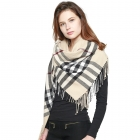 CS0142 Plaid Check Blanket Square Scarf, Ivory