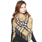 CS0142 Plaid Check Blanket Square Scarf, Taupe