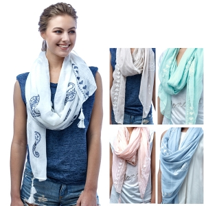 SS2930 Embroidery Paisley Scarf