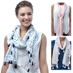SS2934 STAR LIGHE WEIGHT TASSEL SCARF