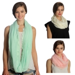 SS2972 SOLID INFINITY SCARF WITH END LACE